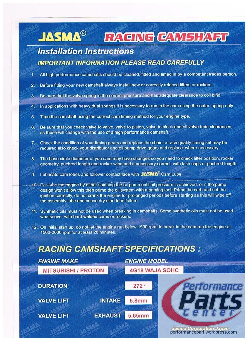 JASMA, Racing Camshaft – Proton Waja 4G18 | performance parts center